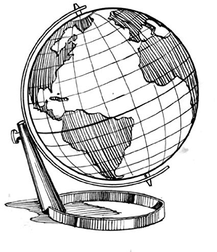 425x493 x acrylic keyring line drawing globe