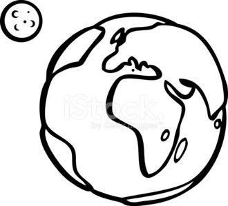 330x299 Earth And Orbiting Moon Line Art Premium Clipart