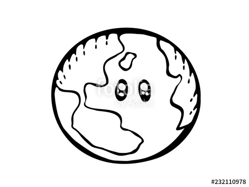 500x375 Earth Drawing World Map Or Globe In Doodles Style Cartoon