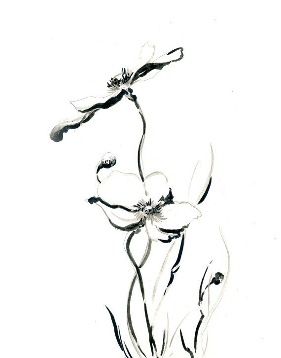 570x726 Minimalist Art Print, Flowers Drawing Art Print, Black And White