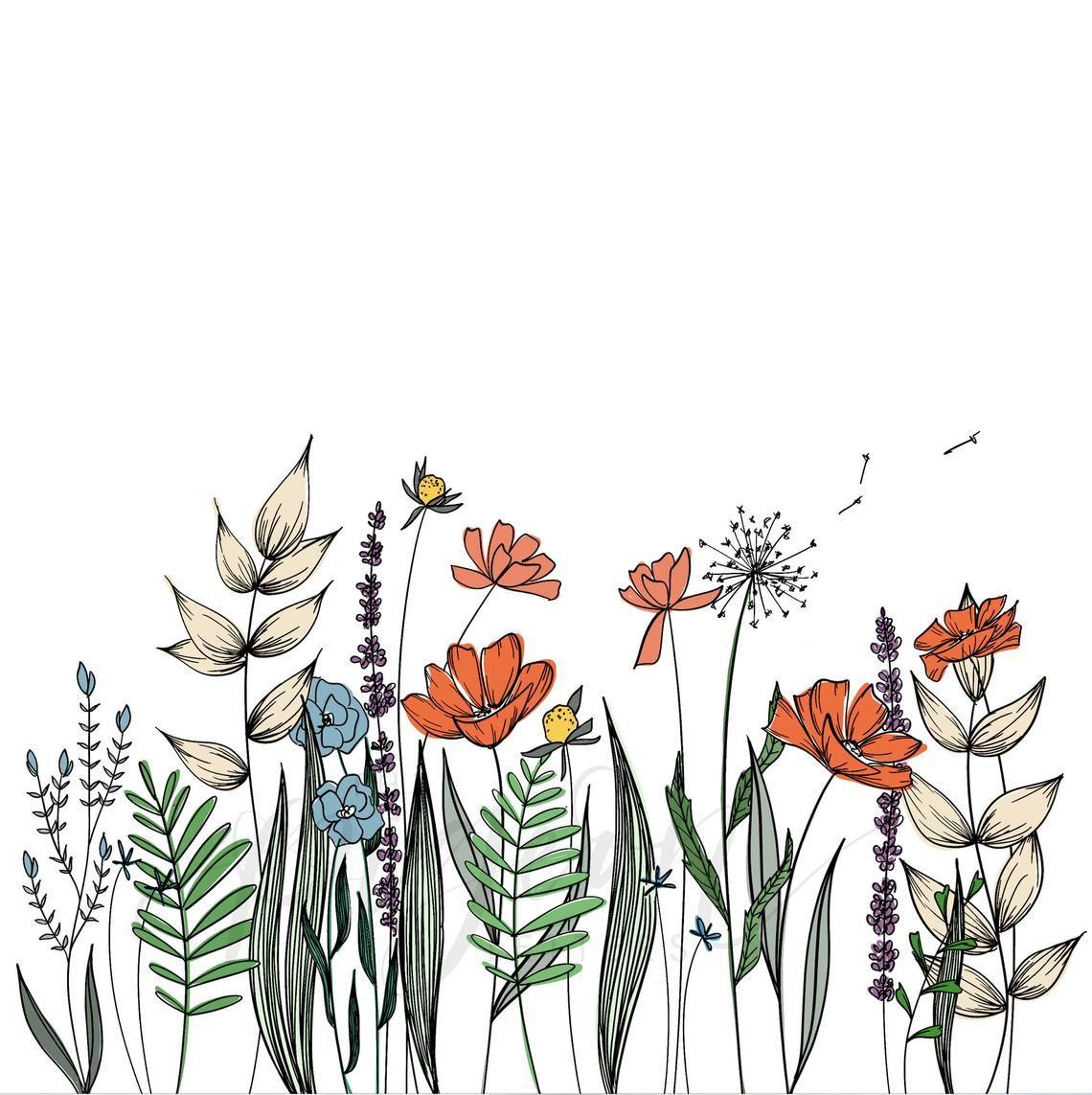 1140x1143 Wildflowers Line Drawing Wall Decor Botanical Illustration