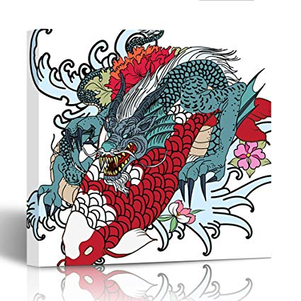 425x425 Emvency Painting Canvas Print Wooden Frame Dragon