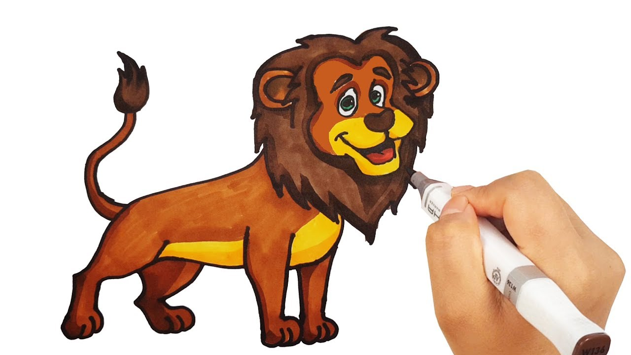 1280x720 How To Draw Lion Drawing With Colored Markers Learn Animals