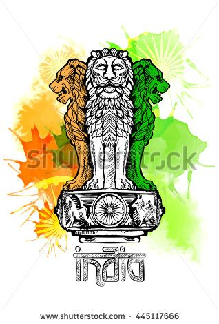 318x470 Lion Capital Of Ashoka In Indian Flag Color Emblem Of India