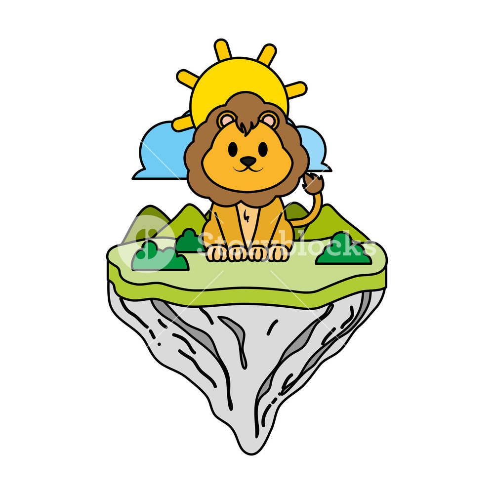 1000x1000 Color Male Lion Animal In Float Island Vector Illustration Royalty
