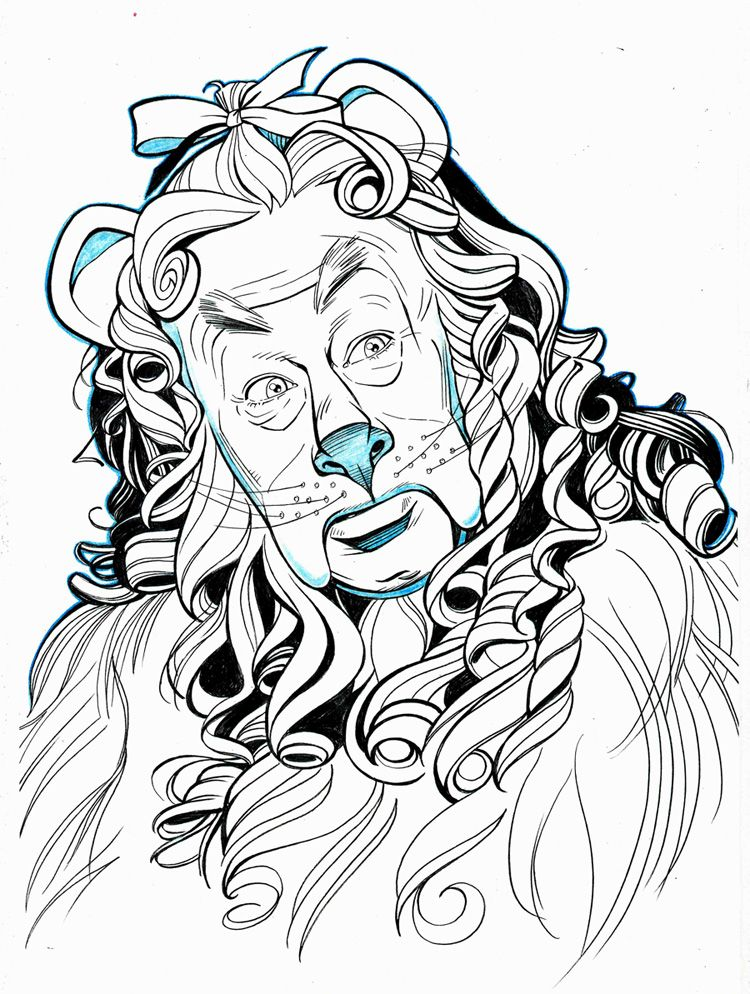 750x994 Wizard Of Oz Drawings Of Characters Oz Cowardly Lion Portrait