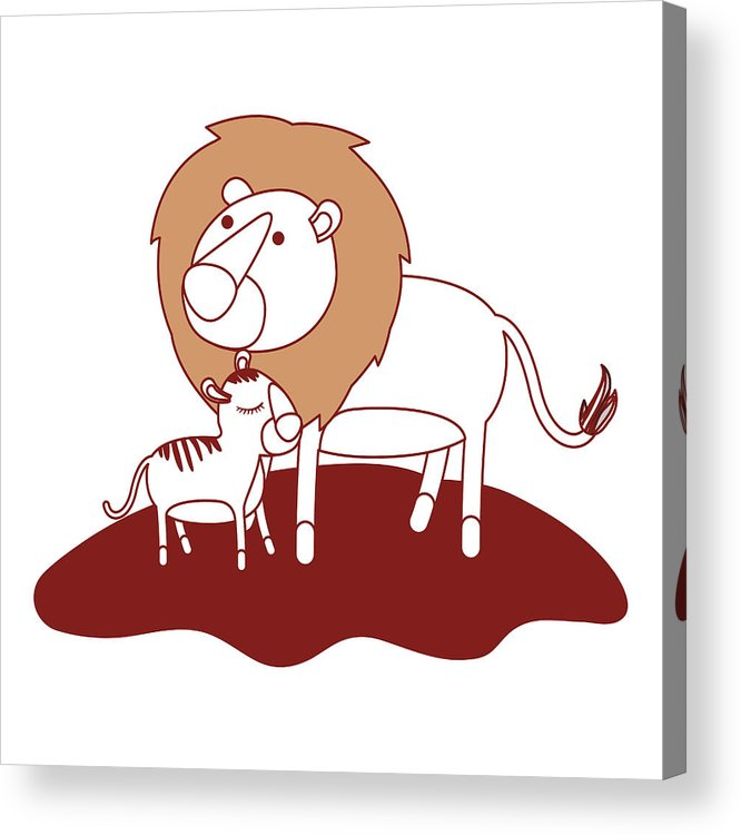 666x750 Cartoon Lion And Cub Over Grass In Color Sections Silhouette