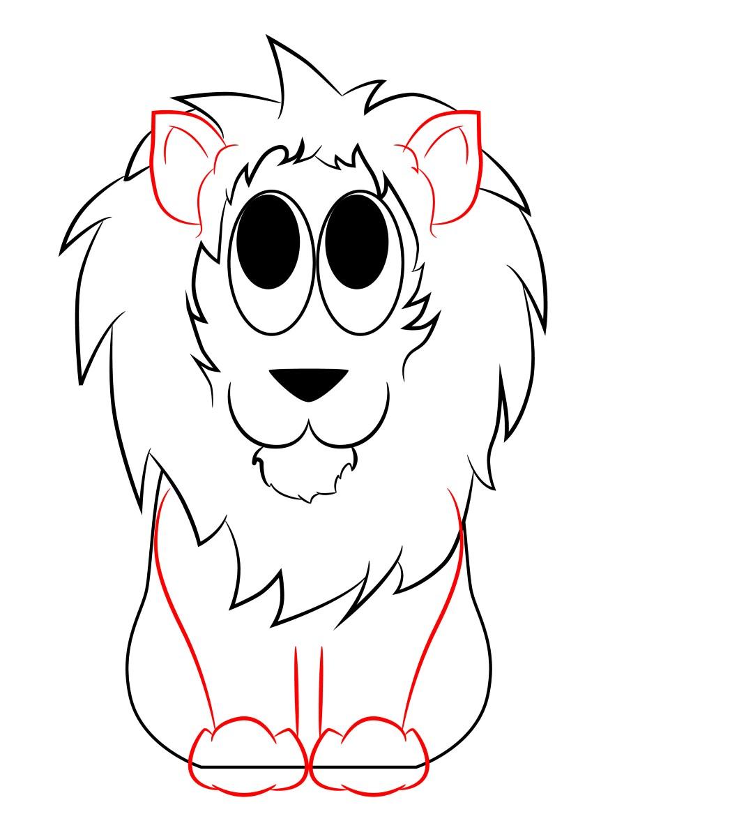 1080x1190 Lion Cartoon Drawing
