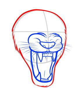 261x302 How To Draw A Lion Roaring, Roaring Lion, Step