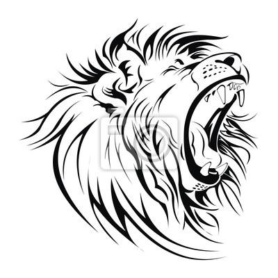 400x400 Roaring Lion Outline Clipart