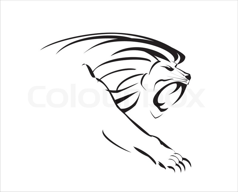 800x644 Side View Roaring Lion With The Stock Vector Colourbox