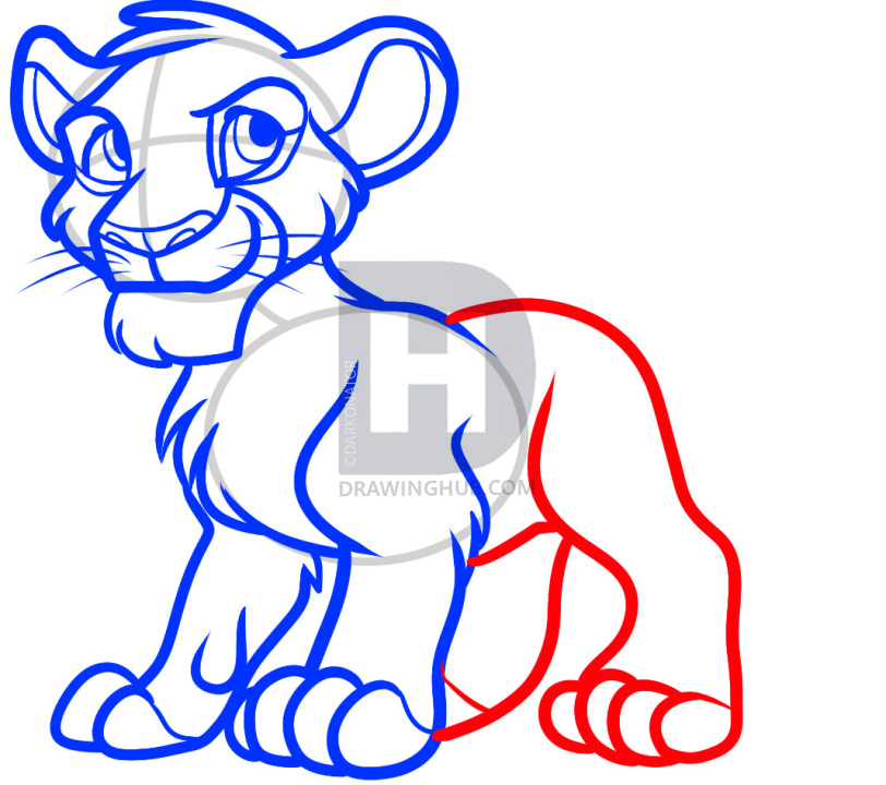 812x720 How To Draw Simba From The Lion King, Step