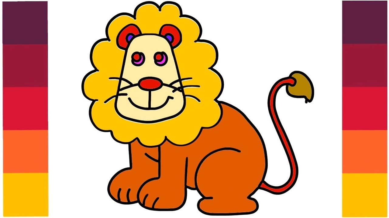 1280x720 How To Draw Cartoon Lion King Coloring Lion Learn Step