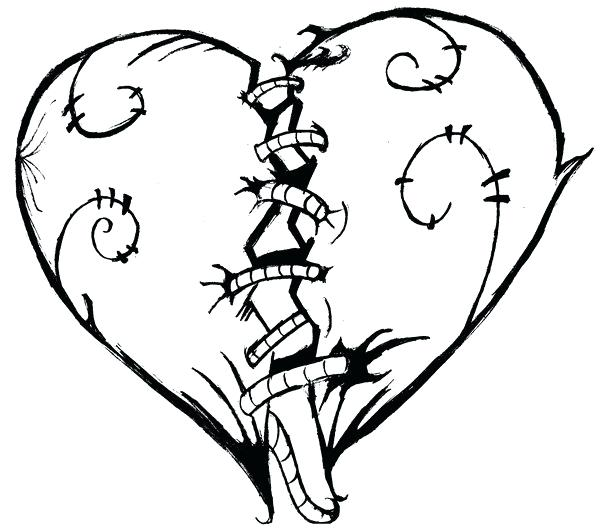 600x532 roses and heart drawings broken heart heart rose rose and heart