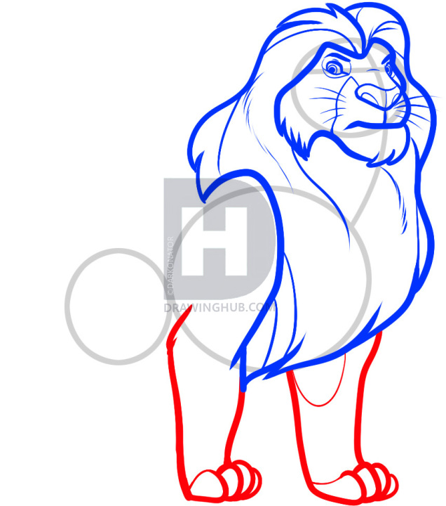 636x720 How To Draw Mufasa From Lion King, Step
