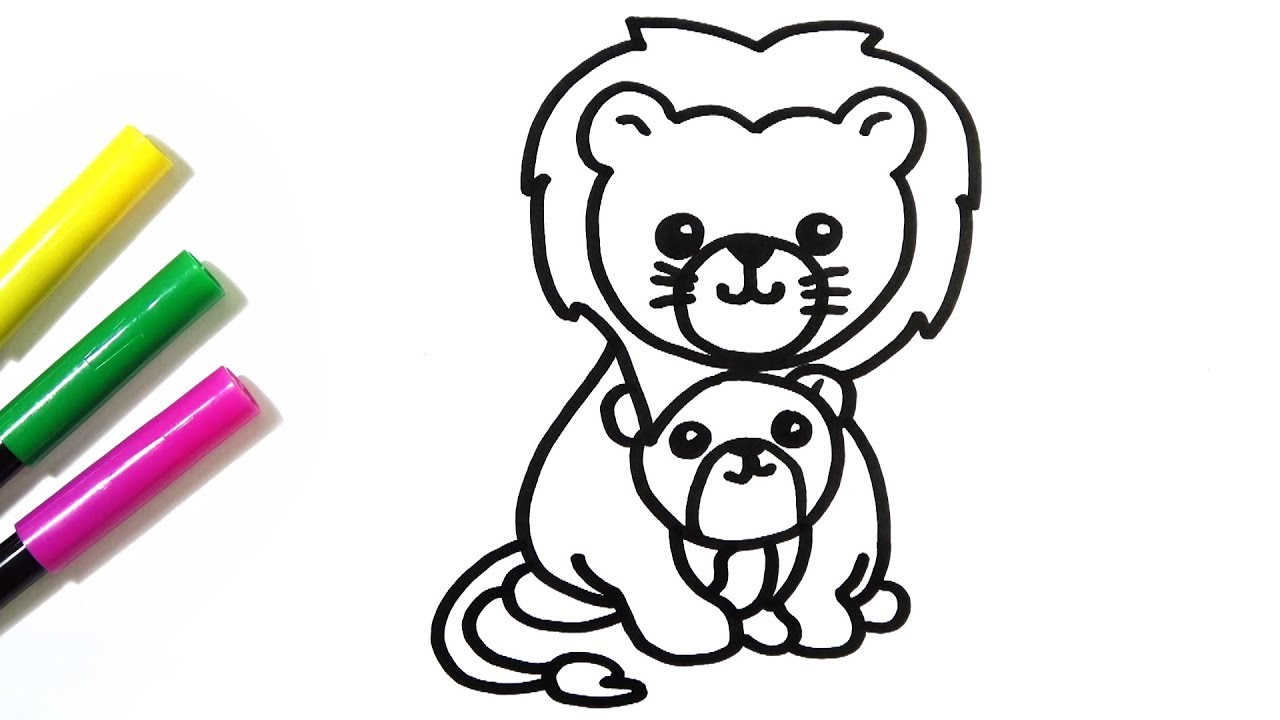 1280x720 How To Draw Cute Mother And Baby Lion Hde