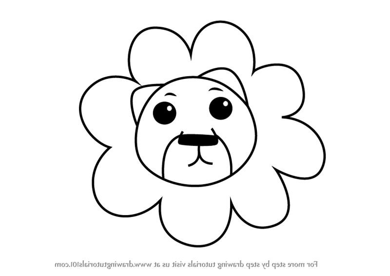 800x566 How To Draw A Lion Face Step