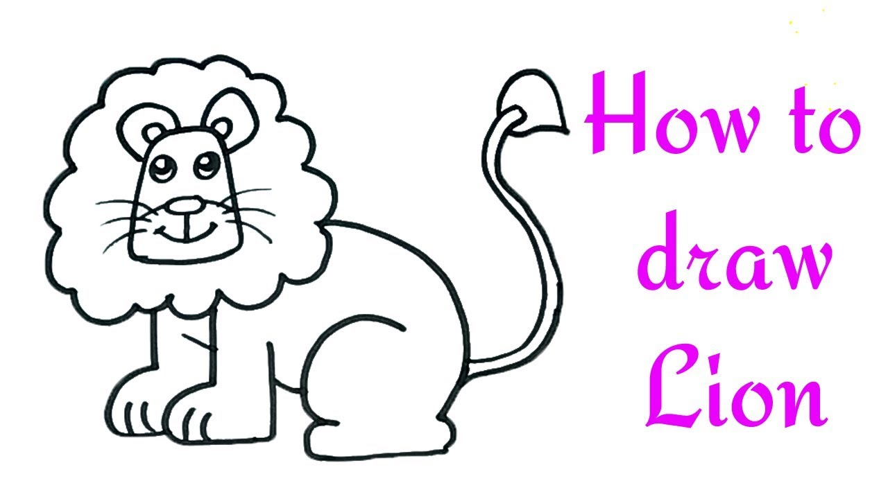 1280x720 How To Draw A Lion For Kids Lion Drawing Lesson Step