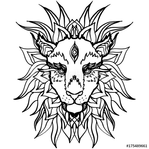 500x500 Realistic Detailed Hand Drawn Illustration Of Lion Head Ink