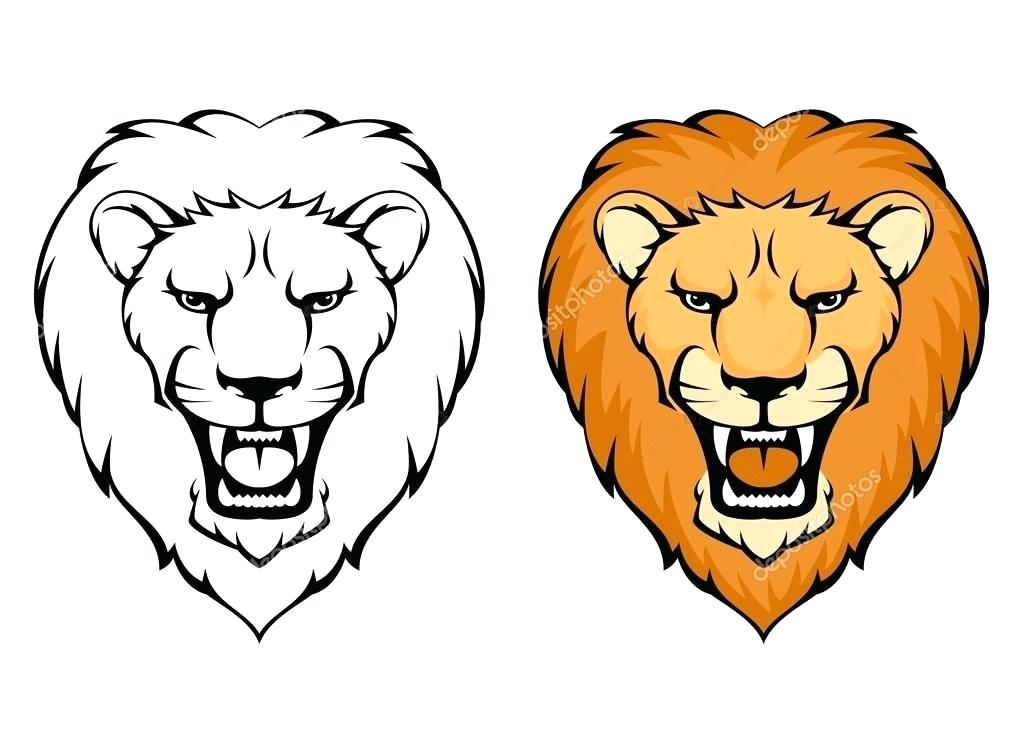 1023x731 Simple Lion Drawing Simple Cute Lion Drawing Basic Lion Drawing
