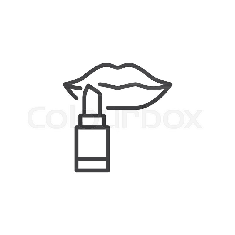 800x800 Lips And A Lipstick Outline Icon Stock Vector Colourbox