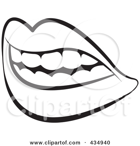 450x470 Black And White Clipart Outline Lips