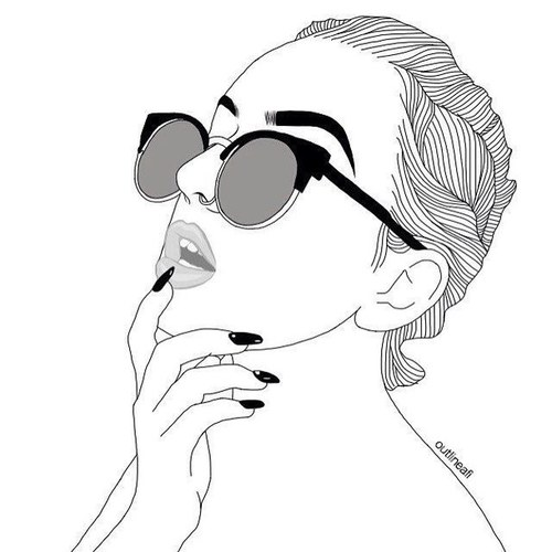 500x500 Draw, Girl, Glasses, Lips, Outlines On We Heart It