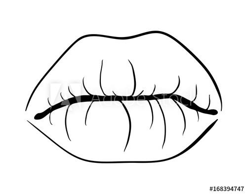 500x393 Lips Closed Outline Cartoon Vector Symbol Icon Design Beautiful