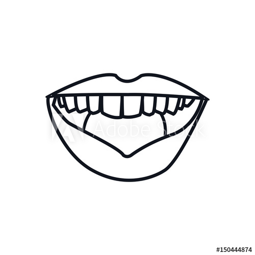 500x500 Outline Mouth Lips Woman Expression Vector Illustration