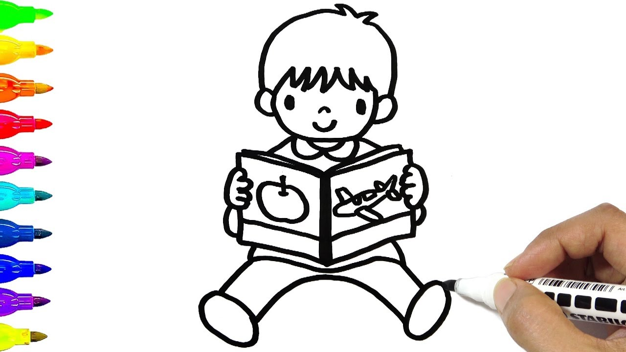1280x720 Drawing Cute Little Boy Reading Book Coloring Pages