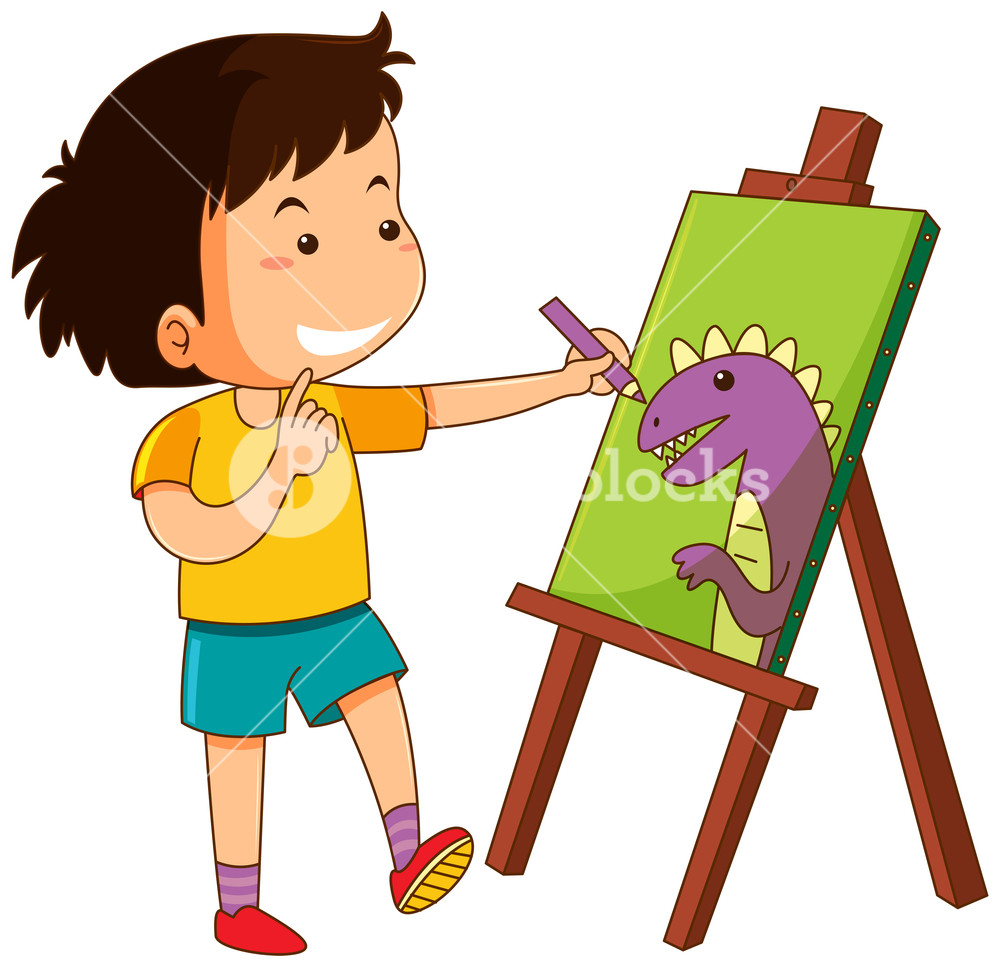 1000x967 Little Boy Drawing Dinosaur On Canvas Royalty Free Stock Image