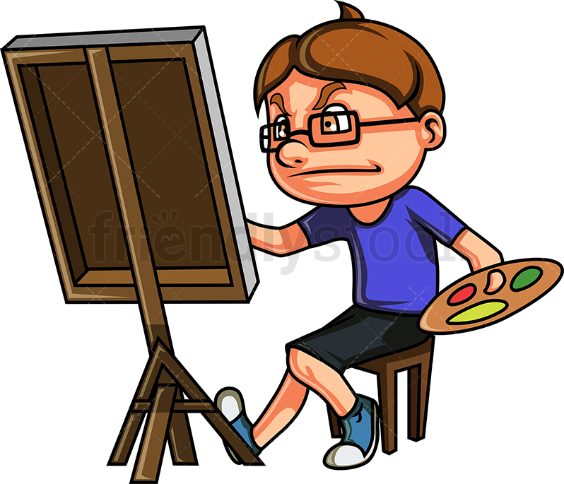 798x685 Nerdy Kid Drawing A Painting Cartoon Clipart Vector