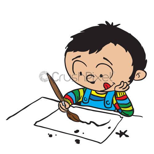 500x500 Little Boy Drawing