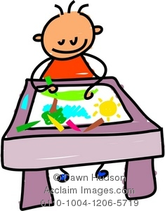 235x300 Clipart Illustration Of Little Boy Drawing With Crayons