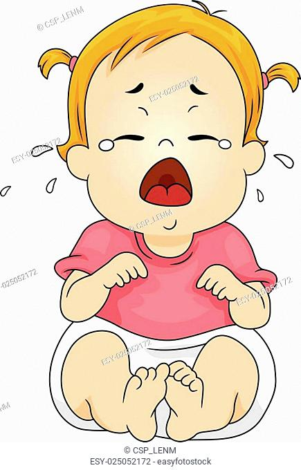 Cartoon picture of little girl crying