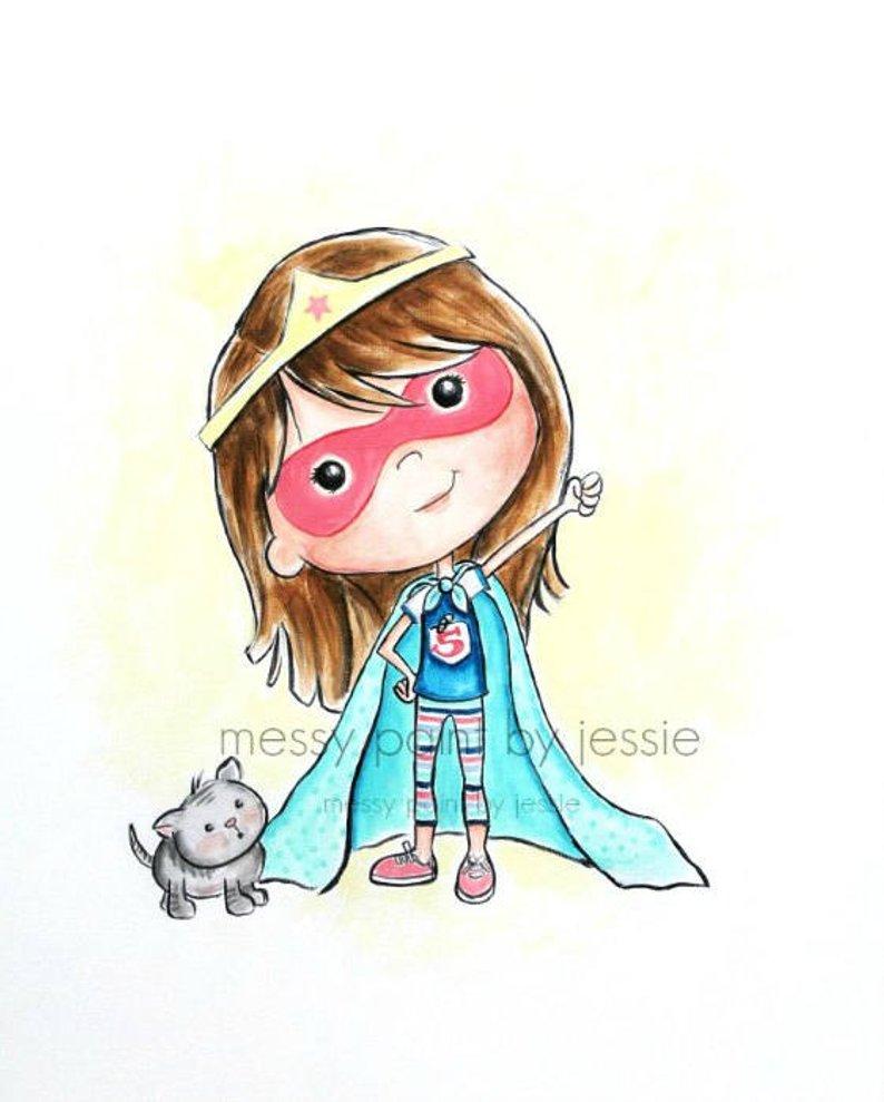 794x989 super hero girl super hero illustration children's wall etsy