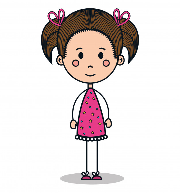 626x668 Cute Little Girl Drawing Vector Illustration Design Vector