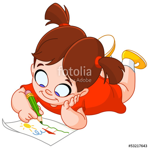 500x500 Little Girl Drawing Stock Image And Royalty Free Vector