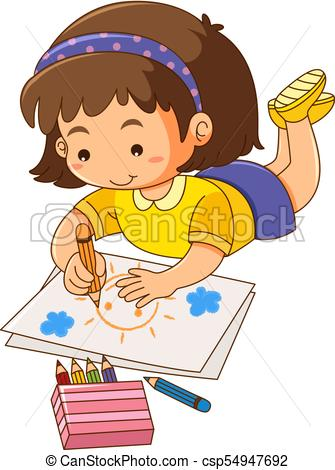 335x470 Little Girl Drawing Sun On Paper Illustration