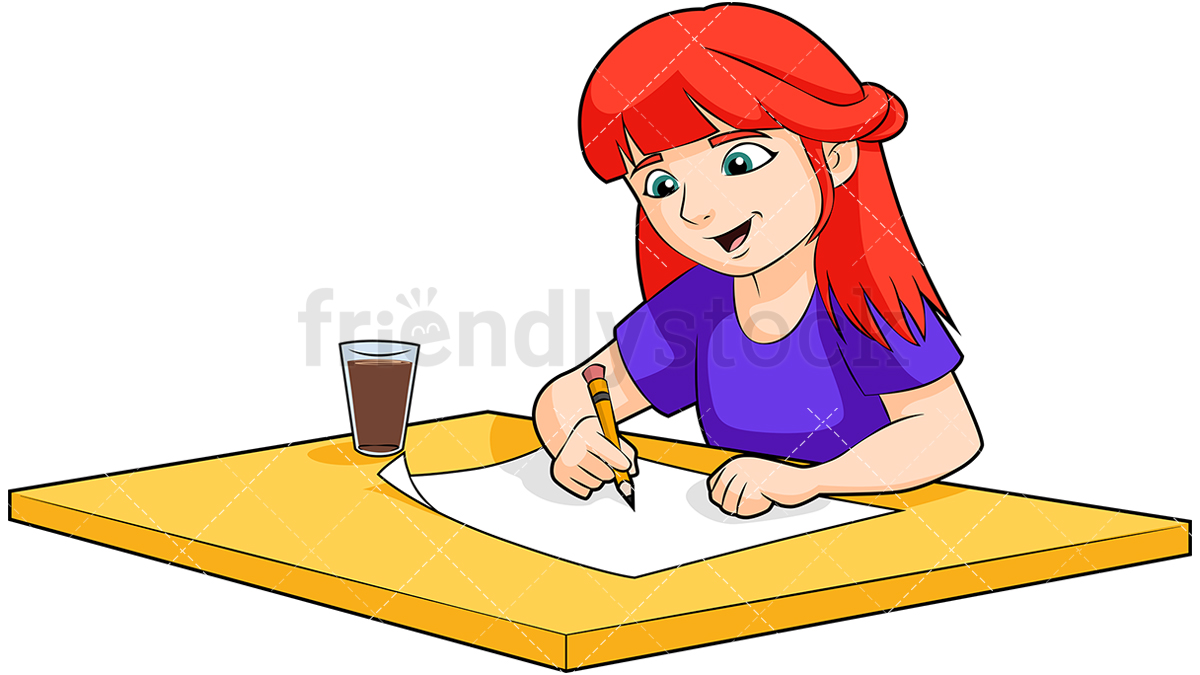 1200x675 Redhead Little Girl Drawing Cartoon Vector Clipart
