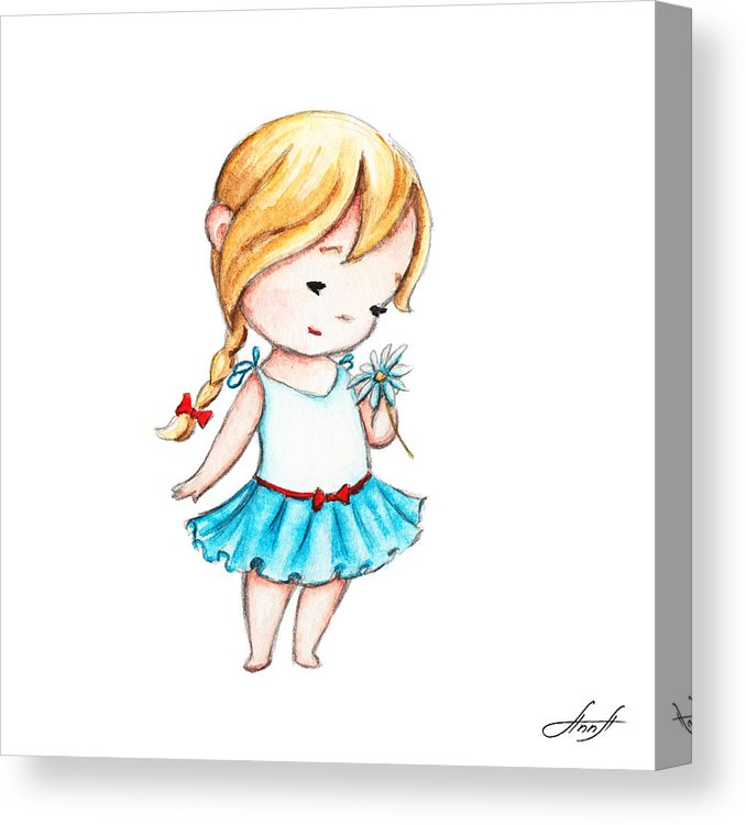 678x750 The Drawing Of Little Girl With A Daisy Canvas Print Canvas Art