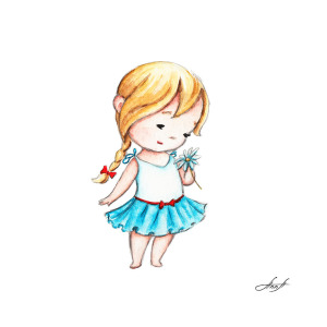 300x300 The Drawing Of Little Girl With A Daisy Painting