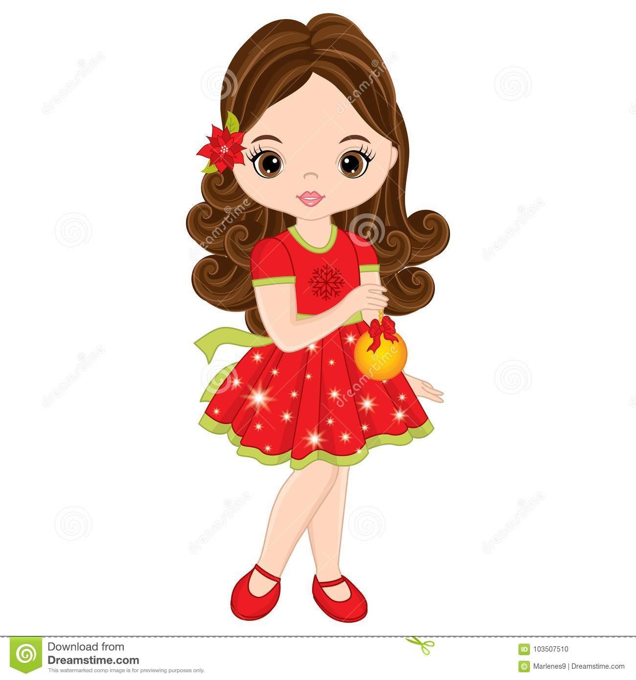 1300x1390 Vector Cute Little Girl Christmas Ball Illustration