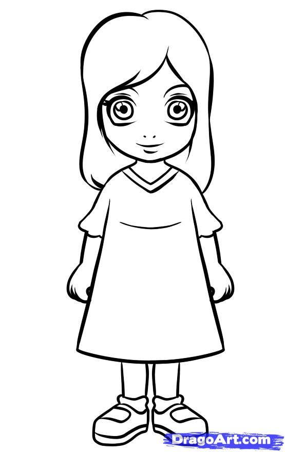 Little Girl Drawing Easy Free Download Best Little Girl Drawing