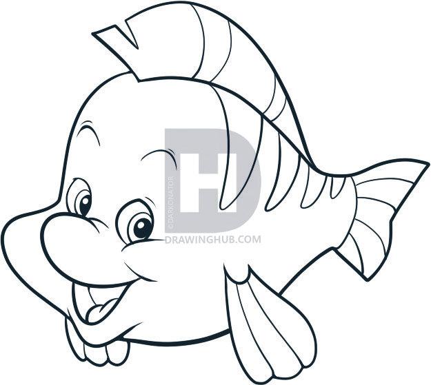625x559 How To Draw Flounder, Step