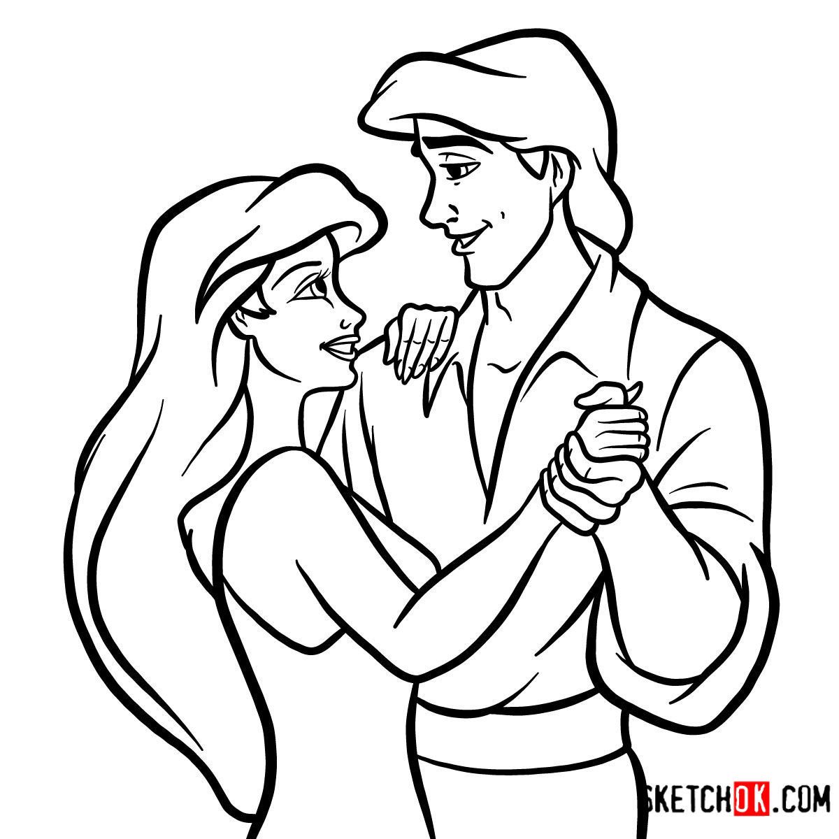 1200x1200 How To Draw Eric And Ariel Together The Little Mermaid