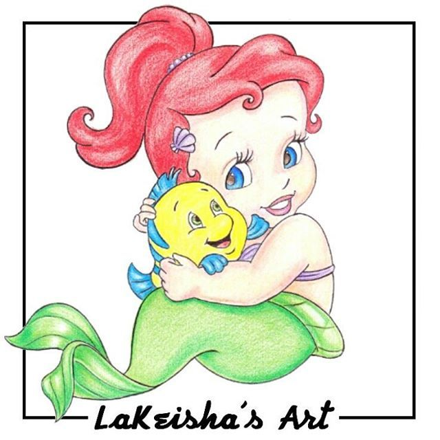 640x640 Colored Pencil Drawing Of Baby Ariel And Baby Flounder