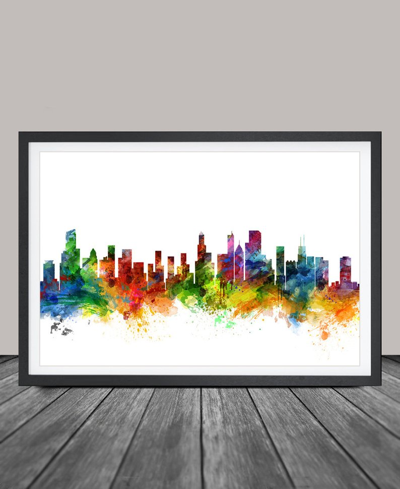 794x970 chicago skyline watercolor print united states chicago london etsy
