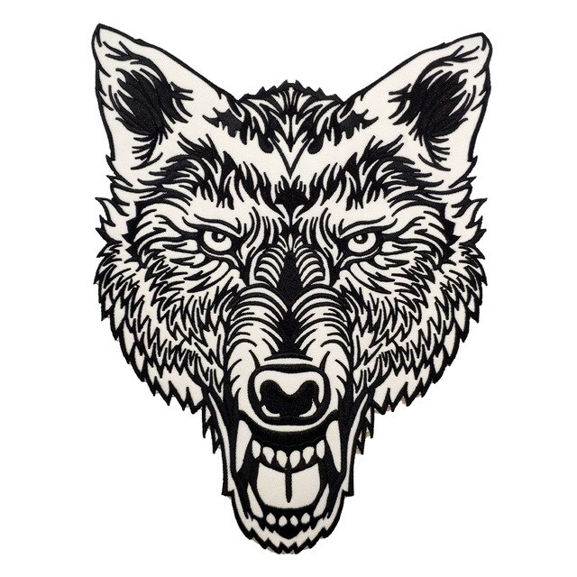 640x640 embroidered patch lone wolf head tattoo reflective biker patch