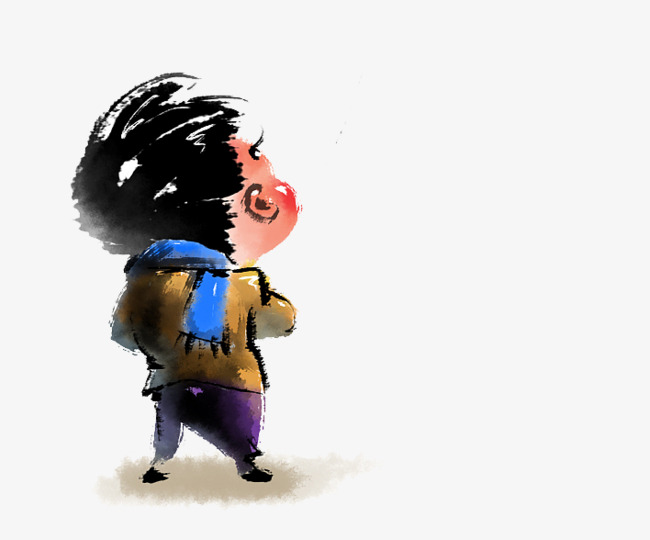 650x540 ink boy lonely figure, boy clipart, monochrome silhouette, ink boy